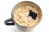Oatmeal and blueberries — Stock Photo