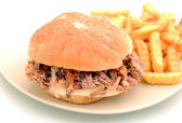 Barbecue pulled pork sandwich and fries — Stock Photo