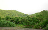 Natural mountains and river in tropical rainforest in panama — Stock Photo
