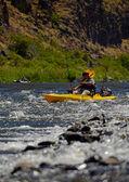 Man fishing while paddling a kayak near rapids — Stock Photo