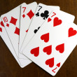 Lucky seven poker hand — Stock Photo