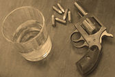 Alcohol and fun or firearm — Stock Photo