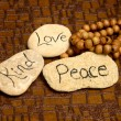 Stock Photo: Peace, love and kind rocks