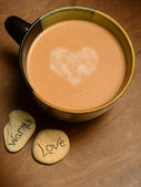 Hot cocoa with heart — Stock Photo