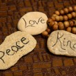 Foto Stock: Peace, love and kindness