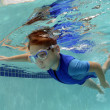 Stock Photo: Young boy swimming underwater