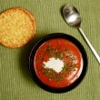 Stock Photo: Tomato soup and whole grain crackers