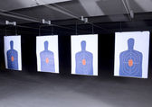 Bullseye targets at gun range — Stock Photo