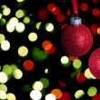 Red christmas balls with glitter  — Stockfoto