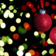 Red christmas balls with glitter — Stock Photo #31593621