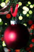 Red christmas decoration and lights — Foto de Stock