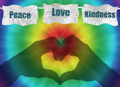 Retro peace, love and kindness image with tie-dye — Stock Photo