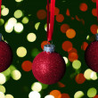 Red glitter christmas ornaments — Stock Photo
