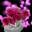 Pink roses flower arrangement — Stock Photo