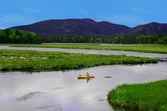 Kayaking in summer landscape — Stock Photo