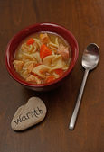 Hearty chicken noodle soup — Stock Photo
