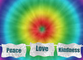 Peace love and kindness retro tie-dye background — Stock Photo