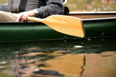 Close-up of a man in a canoe — Stock Photo
