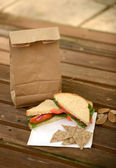 Brown bag lunch — Stock Photo