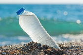 Bottle of fresh water is on the sand by the sea. — Stock Photo