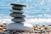 Stone composition on the beach — Stock Photo
