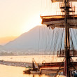 Stock Photo: Mast frigate amid bay of Alanya. Turkey.