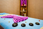 Decorations massage table in the room Spa — Stock Photo
