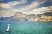 A boat in the Bay of Sudak — Стоковое фото