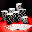 Poker, royal flush and gambling chips. — Stock fotografie