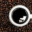 Stock Photo: Cup of coffee on background coffee grains