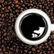 Stockfoto: Cup of coffee on background coffee grains