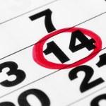 fecha en el calendario en marcador rojo — Foto de Stock