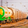 Tank for liquefied gas and dangerous substances on the tracks — Stock Photo
