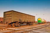 Freight wagon on railroad tracks — Stock Photo