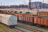 Railroad freight wagons in freight yards — Stock Photo