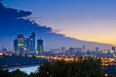Evening Moscow City, the view from Sparrow Hills — Stock Photo
