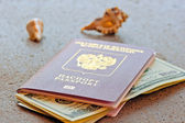 Russian passport with a dollar invested and seashells on a granite table top — Stock Photo