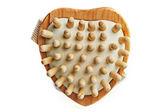 Massage-Bürste in einer Herzform — Stockfoto