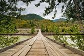 Zawieszenie drewniany most drogowy na rzece bawełna. Ałtaj, Federacja Rosyjska. — Zdjęcie stockowe