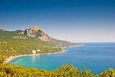 Landscape with a mountain in the sea. Crimea. Ukraine. — Stock Photo