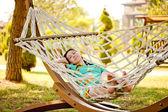 Woman on hammock. — Stock Photo
