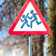 Warning road sign - Caution children! — Stock Photo