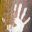 Human handprint on the bark of a tree. - Stock Photo