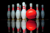 Ten bowling pins and ball — Stock Photo