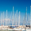Masts of yachts at the marina — Stock Photo