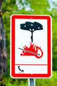 Information sign in the woods on fire risk — Stock Photo