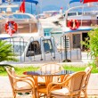 Stock Photo: Table against background of yacht harbor