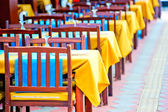 Number of empty tables at the cafe — Stock Photo