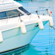 White fenders on aboard the yacht — Foto Stock