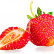 Stock Photo: Whole strawberry and half on white background